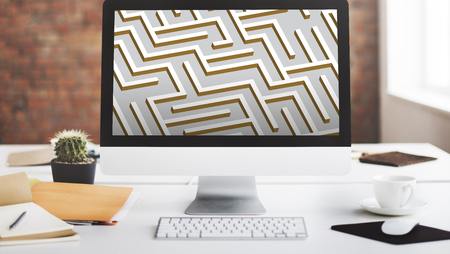 challange: Labyrinth Lost Direction Game Challange Concept Stock Photo