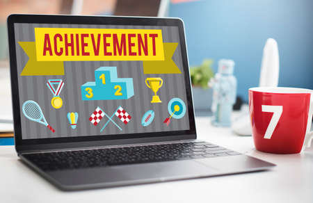 accomplishment: Achievement Accomplishment Vision Development Concept Stock Photo
