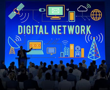 diversity domain: Digital Network Technology Online Connection Concept Stock Photo