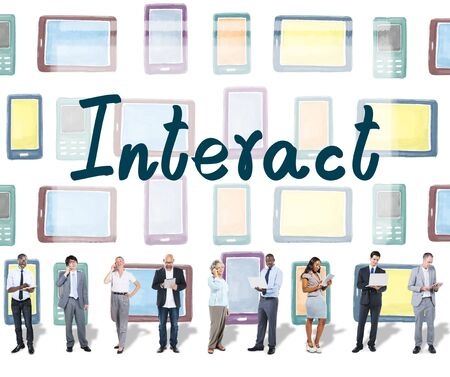 socialize: Interact Socialize Communication Connection Togetherness Concept Stock Photo