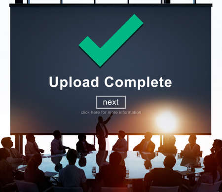 complete: Upload Complete Achievement Digital Internet Concept Stock Photo