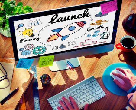 start up: Launch Start up New Business Begin Concept