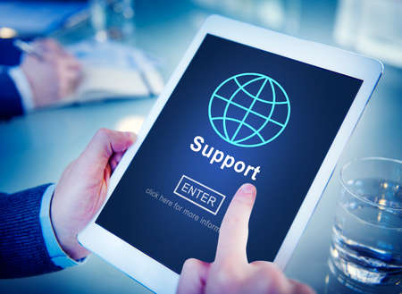 business software: Support Global Business Software Homepage Concept Stock Photo