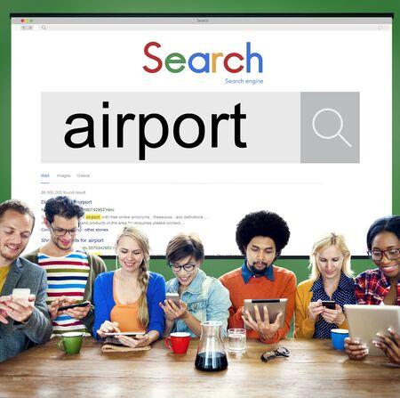 destination: Airport Airplane Flight Destination Concept