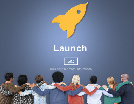 huddle: Launch Start Brand Introduce Rocket Ship Concept Stock Photo