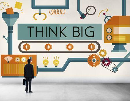 man rear view: Think Big Analysis Attitude Planning Success Concept