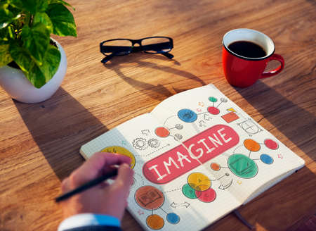 place to learn: Imagine Imagination Expect Creative Icons Concept Stock Photo