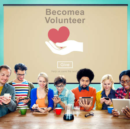 become: Become Volunteer Charity Donate Concept