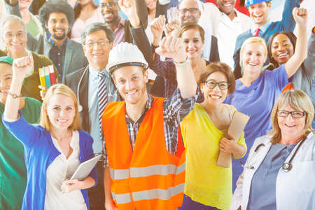 various occupations: People with Various Occupations Arms Raised Concept Stock Photo