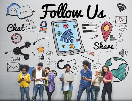 Volg ons volger Doe ons Social Media Concept