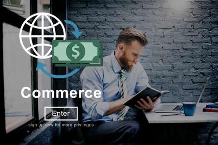 purchasing manager: Commerce World Economics Money Concept Stock Photo