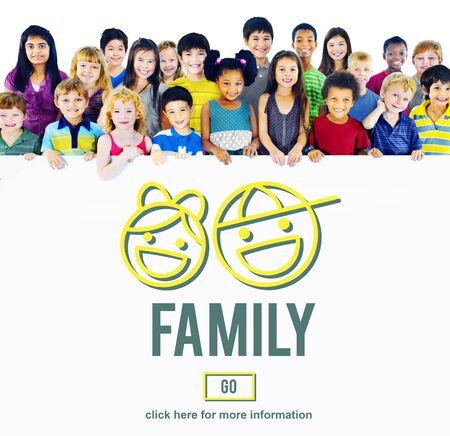 hijos: Concepto de amor de la familia de relaci�n padres Offspring Foto de archivo