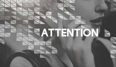 intend: Attention Focus Intend Notice Interest Concentrate Concept Stock Photo