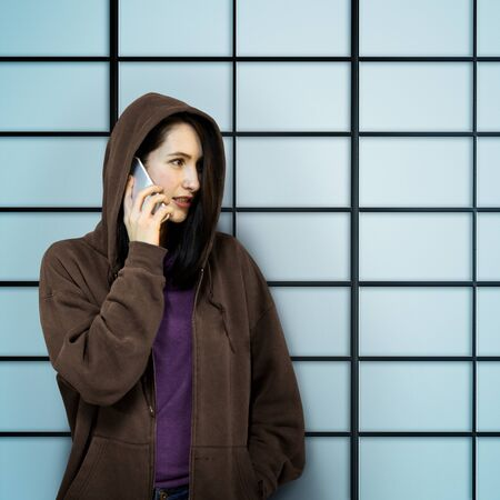 undercover: Behind Criminal Female Spying Undercover Staring Concept