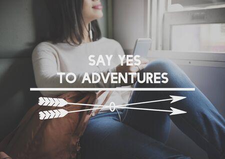 exploration: Adventure Destination Expedition Exploration Concept Stock Photo