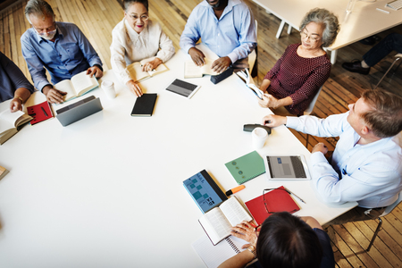 opinion: Meeting Sharing Brainstorming Analysis Opinion Concept Stock Photo