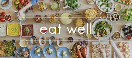 Eat Well Live Well Healthy Food Party Restaurant-Konzept Standard-Bild - 56711656
