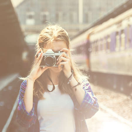 adventure holiday: Girl Adventure Hangout Traveling Holiday Photography Concept Stock Photo