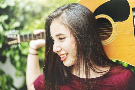 woman guitar: Woman Guitar Musical Instrument Music Activity Concept Stock Photo