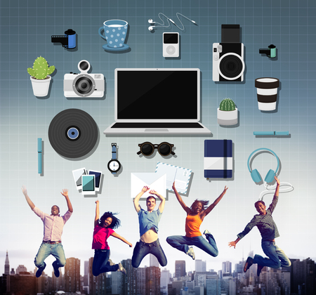 newage: Technology Gadget Media Icons Concept