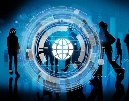 Digital Blue Hud Interface Global Concept