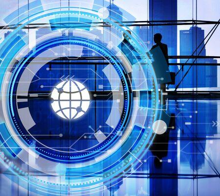 window display: Digital Blue Hud Interface Global Concept