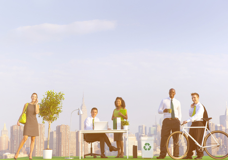 environmental friendly: Environmental friendly office workers in New York.