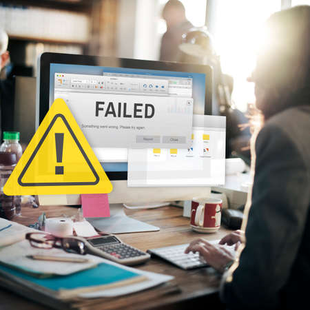 failing: Failed Fail Failing Fiasco Inability Unsuccessful Concept
