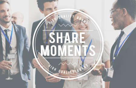 the moments: Share Ideas Moments Connection Information Concept Stock Photo
