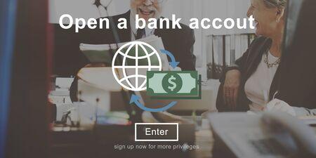 cuenta bancaria: Abrir un concepto de banca Finanzas de la cuenta bancaria Foto de archivo