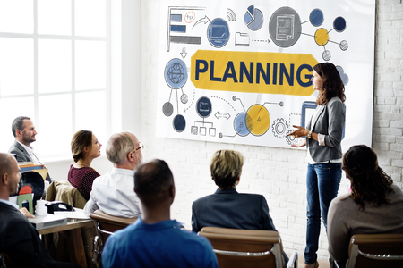 place to learn: Planning Strategy Global Business Data Concept Stock Photo