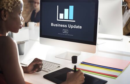 african woman at work: Business Update Graph Chart Graphics Concept