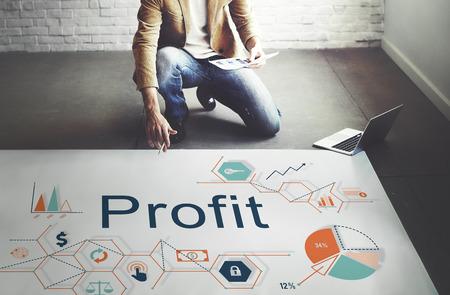 gain: Profit Benefit Revenue Earnings Gain Gross Income Concept