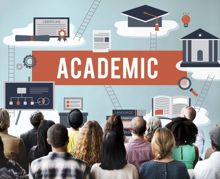 secondary school: Collage Academic Education Institution Concept