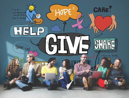 cooperate: Give Aid Charity Support Welfare Concept Stock Photo