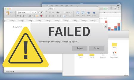 inability: Failed Fail Failing Fiasco Inability Unsuccessful Concept
