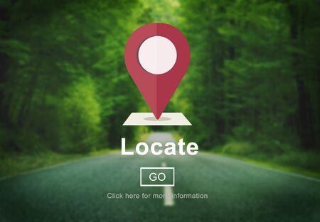 Localiza Ubicación Dirección de navegación Posición Concepto de viaje Foto de archivo