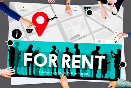 rental: For Rent Rental Available Renting Borrow Property Concept