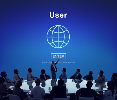 Membre de l'utilisateur Système Ergonomie Identité Mot de passe Concept Banque d'images