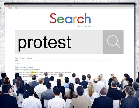 outcry: Protest Protesting Refuse Complain Complaint Concept