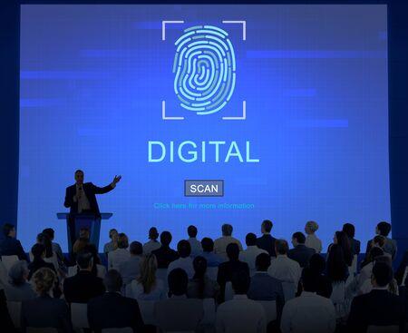 security technology: Technology Security Fingerprint Password Concept Stock Photo