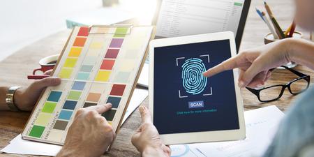 biometrics: Fingerprint Scan Biometrics Identify Authorization Concept