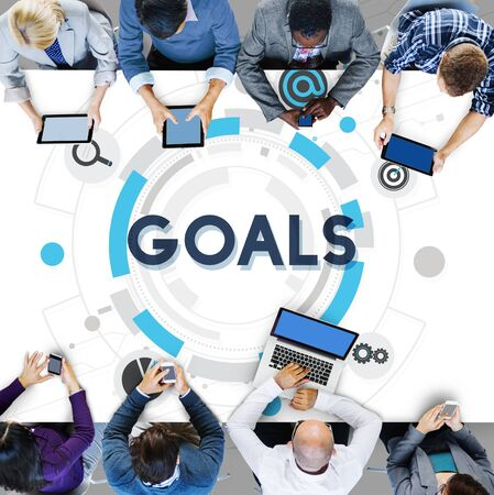 goal oriented: Goals Mission Target Hud Aspiration Concept Stock Photo