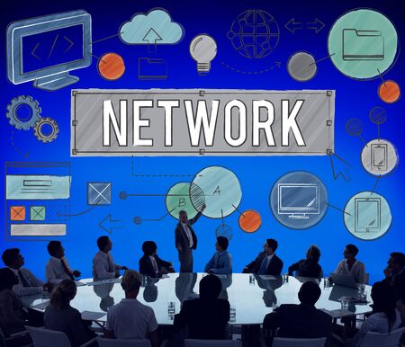 net meeting: Network Connection Internet Online Technology Concept Stock Photo