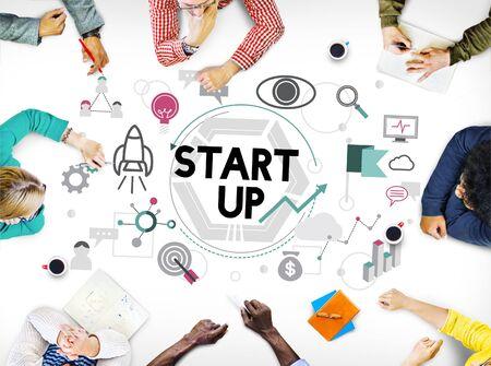 start up: Start up Business Development Enterprise Launch Concept