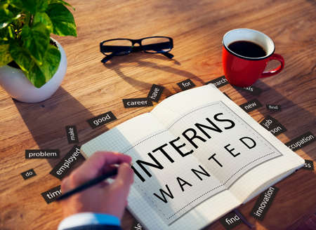 trainee: Interns Wanted Internship Training Trainee Concept Stock Photo