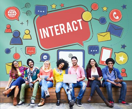socialize: Interact Communicate Connect Social Media Social Networking Concept Stock Photo