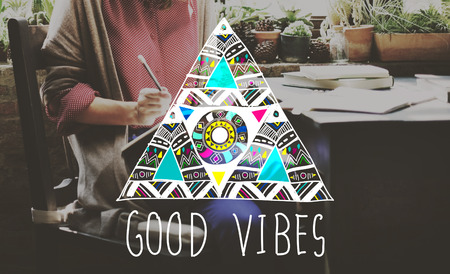 vibes: Good Vibes Positive Thinking Optimistic Concept