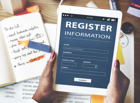 Register Information Apply Signup Concept Stock Photo