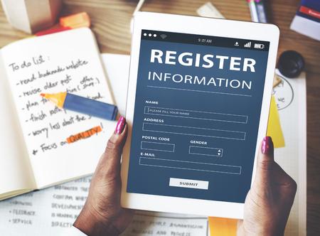 signup: Register Information Apply Signup Concept Stock Photo